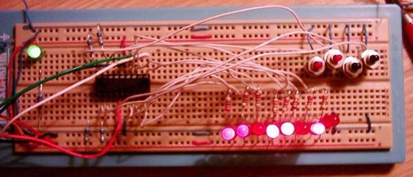 JAL Binary Counter on breadboard